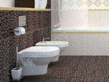 Керамическая плитка под мозаику коричневая мотив Церсанит