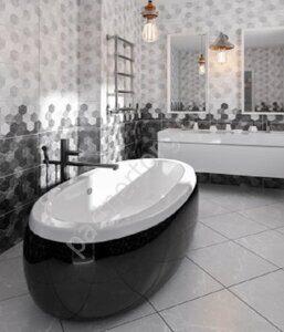 Дайкири Березакерамика керамическая плитка черно-белая, соты фото